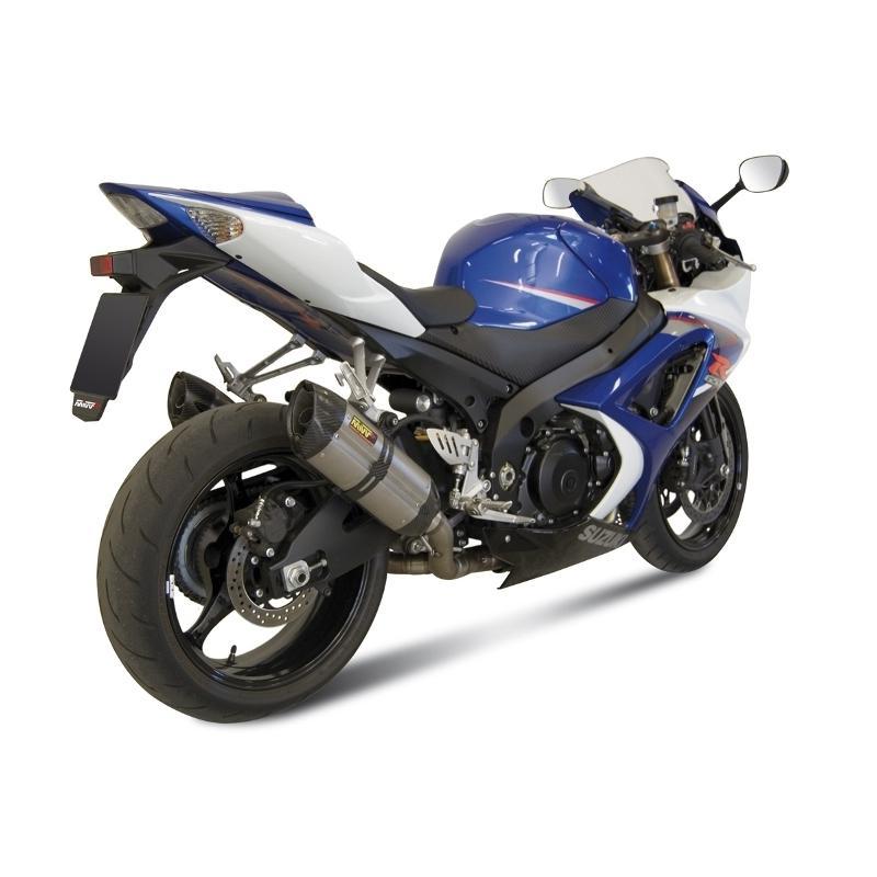 Silencieux double MIVV Suono inox / casquette carbone Suzuki GSX-R1000 07-08