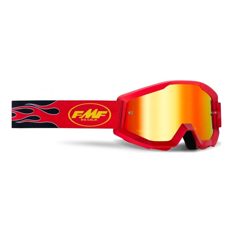Masque cross FMF Vision PowerCore Flame rouge - écran iridium rouge