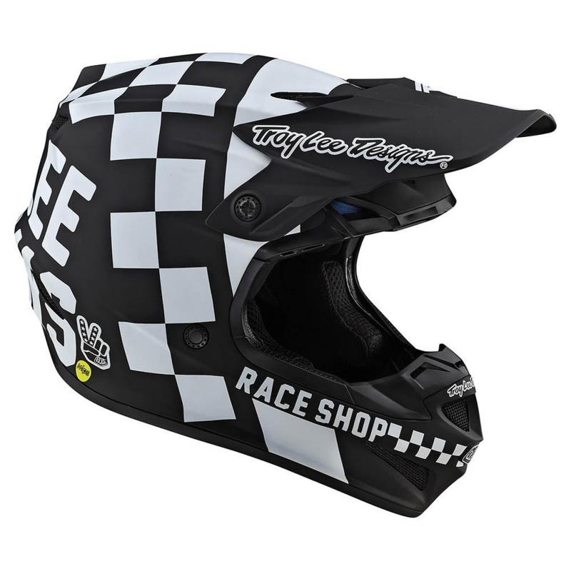 Casque cross Troy Lee Designs SE4 Polyacrylite Checker Mips noir/blanc - 3