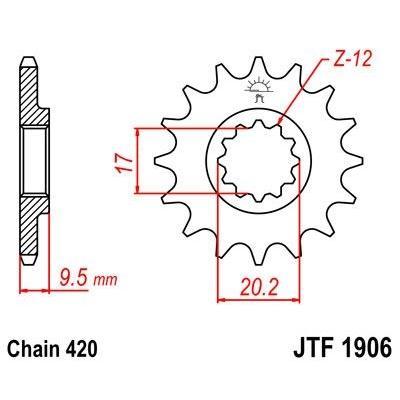Pignon JT Sprockets Acier pas 420 12 dents - Pour KTM SX 65 98-03