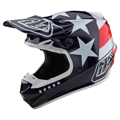 Casque cross Troy Lee Designs SE4 Polyacrylite Freedom Mips rouge/blanc