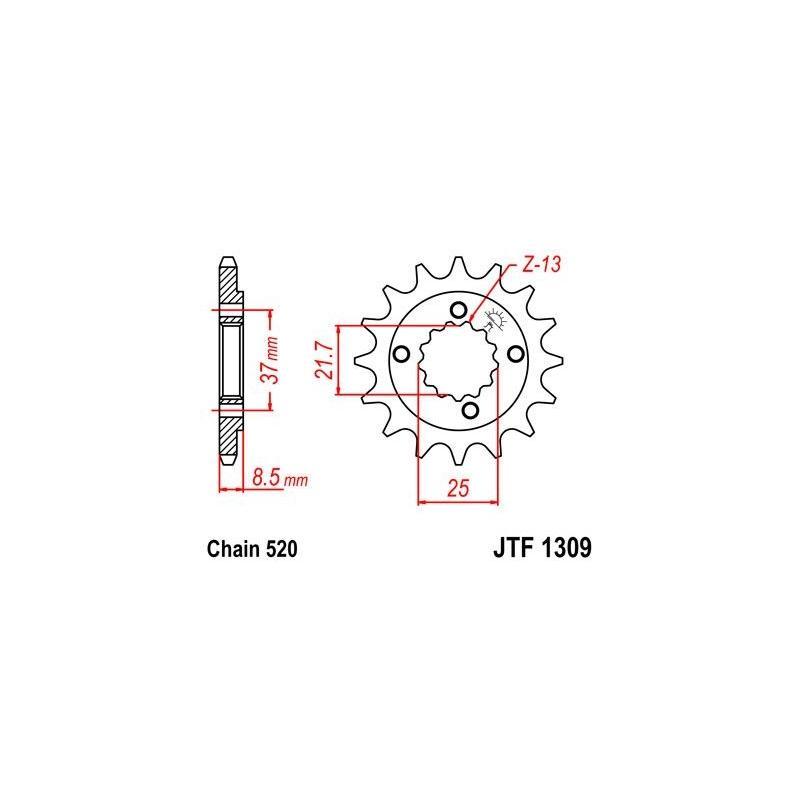 Pignon JT Sprockets Acier pas 520 14 dents - Pour Honda XR 600 R 91-00