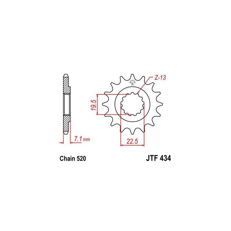 Pignon JT Sprockets Acier pas 520 16 dents - Pour Suzuki DR 400 80-83