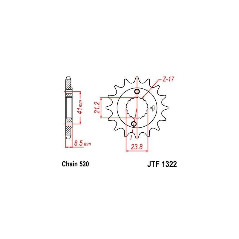 Pignon JT Sprockets Acier pas 520 14 dents - Pour Honda XR 400 R 96-04