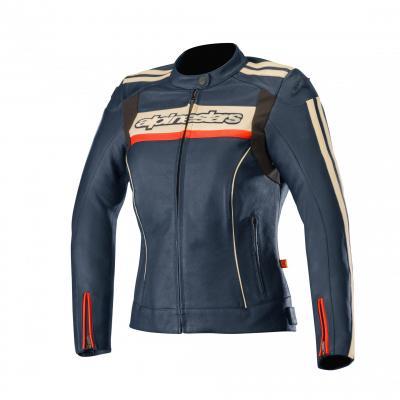 Blouson cuir femme Alpinestars Stella Dyno V2 bleu/stone/rouge