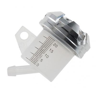 Bocal maître cylindre de frein 1Tek Tuning sortie inclinée bouchon alu silver