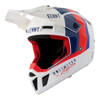 Casque cross Kenny Performance Graphic blanc/bleu/rouge