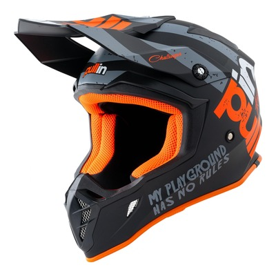 Casque cross Pull-in Trash noir/orange/gris