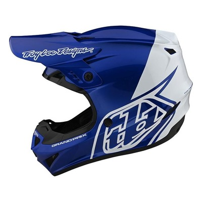 Casque cross Troy Lee Designs GP Polyacrylite Block bleu/blanc