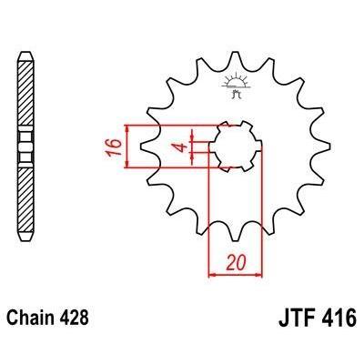 Pignon JT Sprockets Acier pas 428 14 dents - Pour Suzuki RM 85 02-16