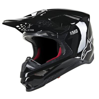 Casque cross Alpinestars Supertech S-M8 Solid noir brillant
