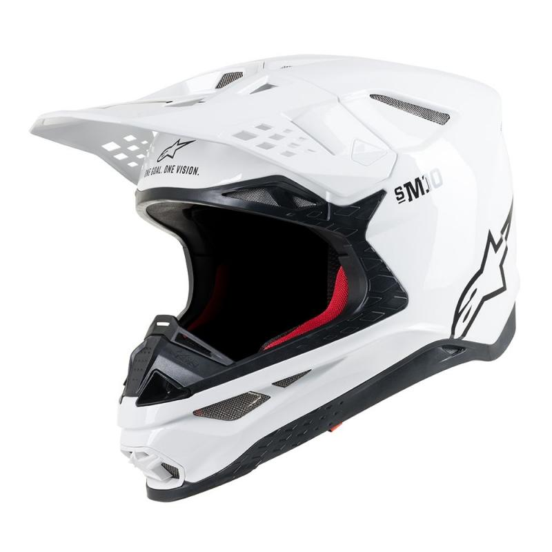 Casque cross Alpinestars Supertech S-M10 Solid blanc brillant