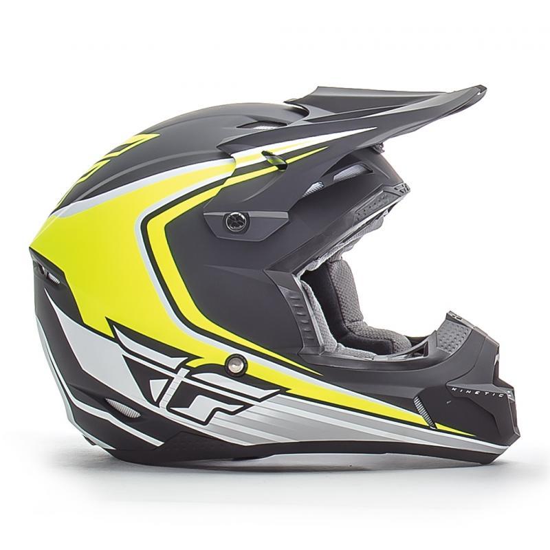 Casque cross Fly Racing Kinetic Fullspeed noir mat/jaune - 1