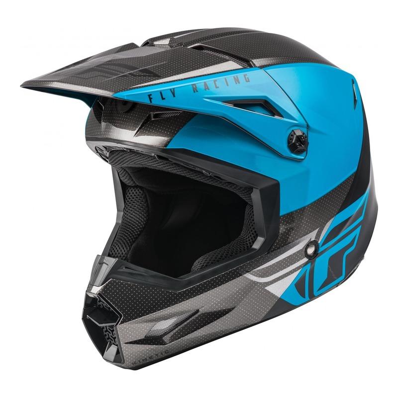Casque cross Fly Racing Kinetic Straight Edge bleu/gris/noir