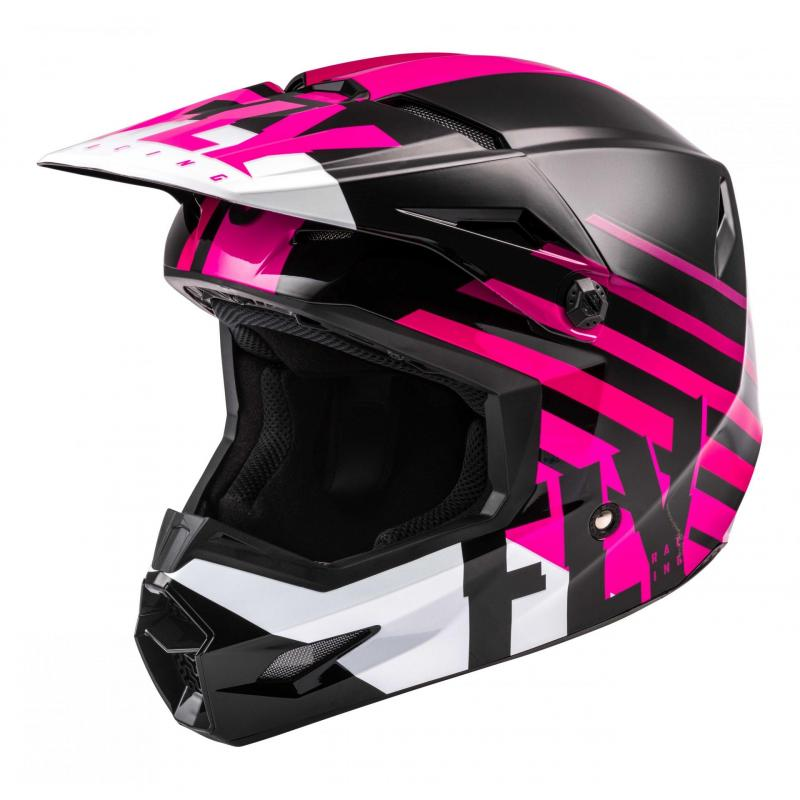 Casque cross Fly Racing Kinetic Thrive rose/noir/blanc