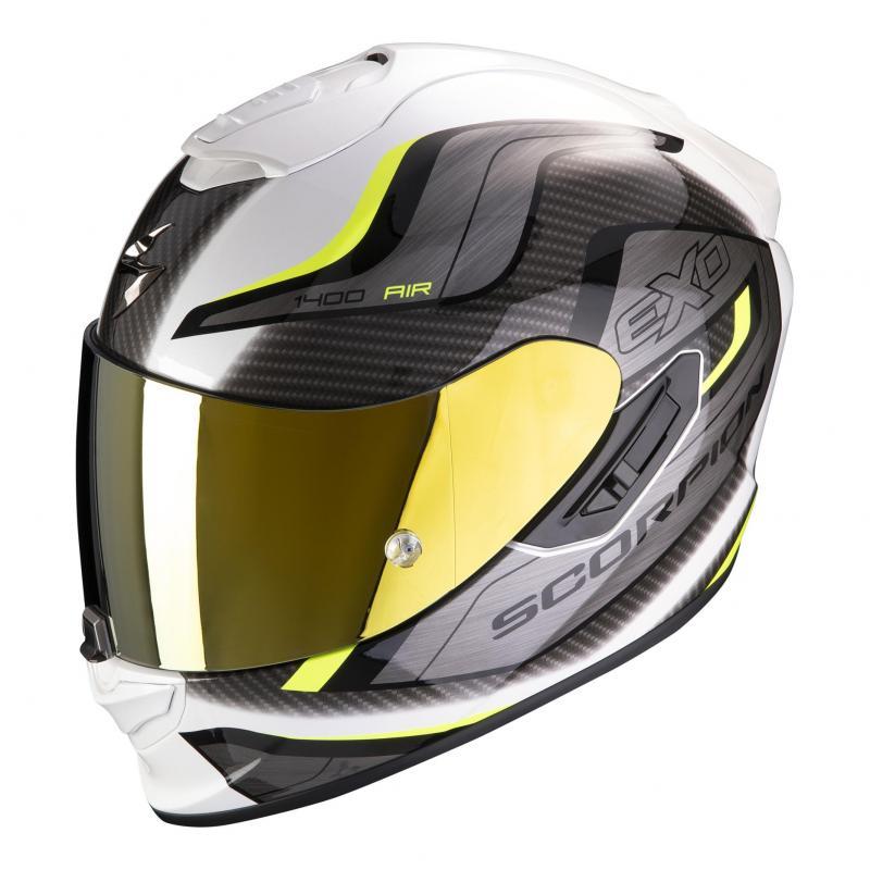 Casque intégral Scorpion Exo-1400 Air Attune blanc/jaune neon