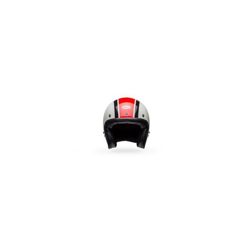 Casque jet Bell Custom 500 Ace Café Stadium Gloss argent/rouge/noir - 1