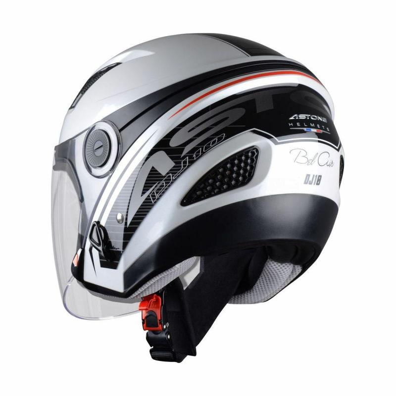 Casque Jet femme Astone Dj10 Graphic Exclusive Bel Air blanc/noir - 1