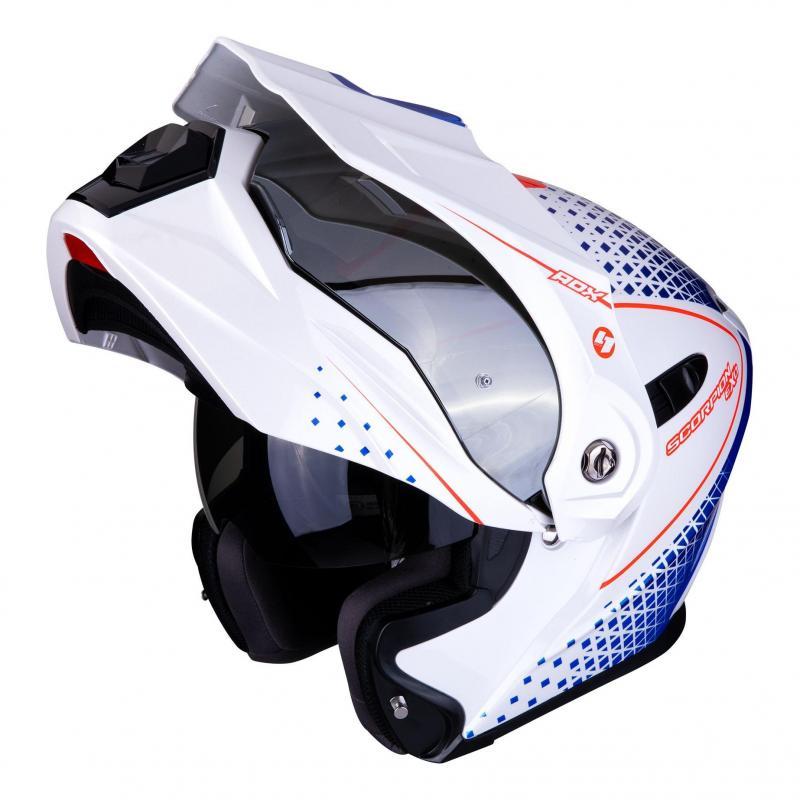 Casque modulable Scorpion ADX 1 Horizon Pearl blanc/rouge/bleu - 1