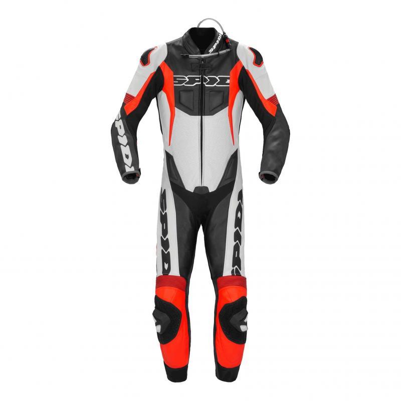 Combinaison cuir Spidi Sport Warrior P.Pro noir/rouge fluo