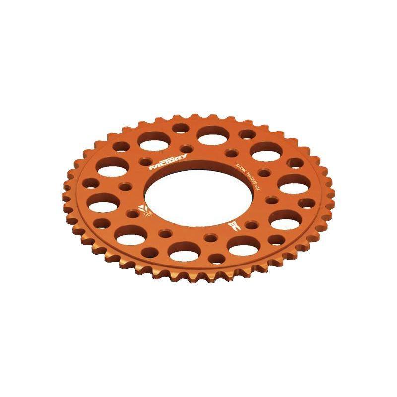 Couronne aluminium 5 trous de fixation YCF pas 420 orange (41 dents)