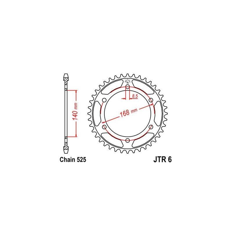 Couronne JT Sprockets Acier pas 525 47 dents - Pour BMW F 800 R 09-16 perçages 8.5 mm