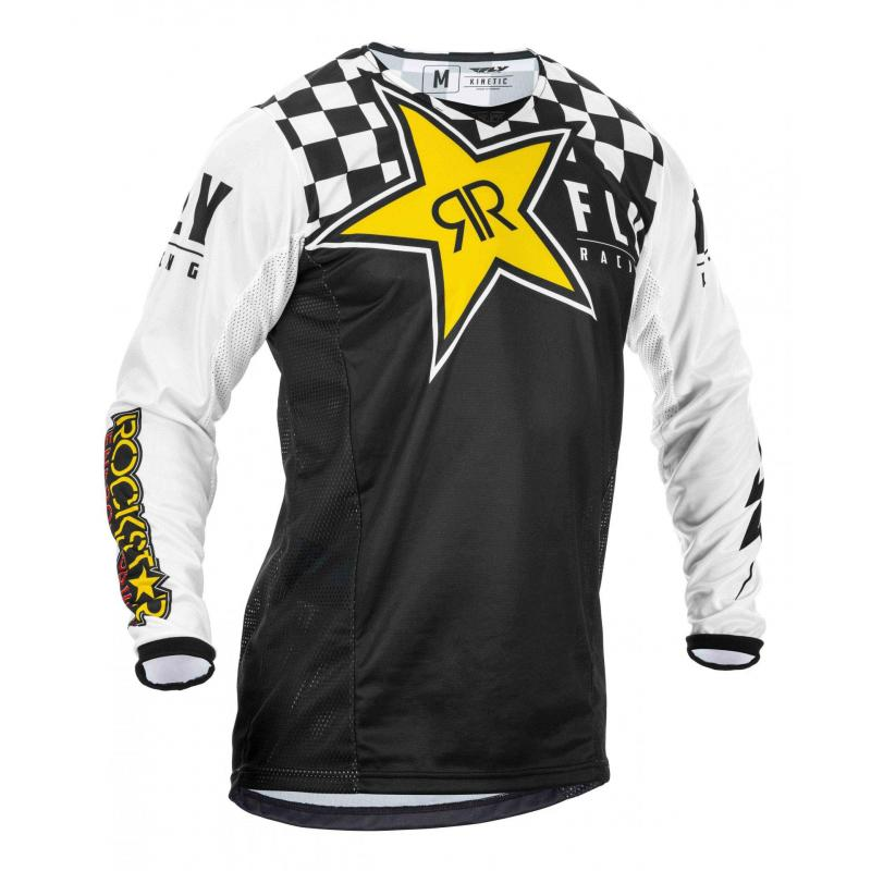 Maillot cross Fly Racing Kinetic Rockstar noir/blanc/jaune
