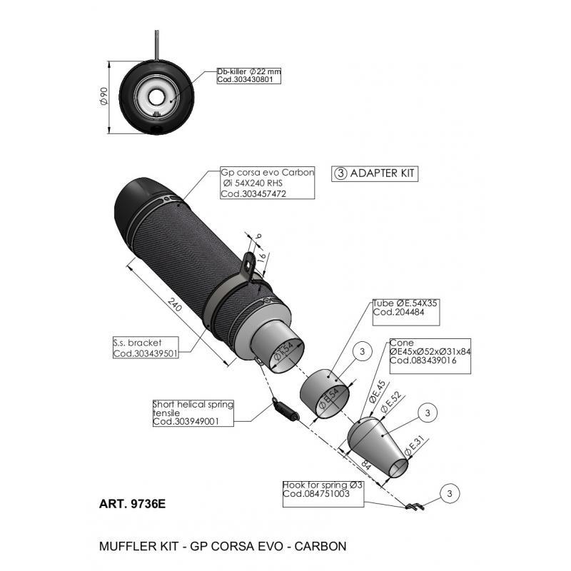 Silencieux universel Leovince GP Corsa Evo carbone Ø 54 mm - 1
