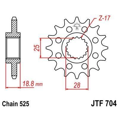 Pignon JT Sprockets Acier pas 525 16 dents - Pour BMW F800 GS 08-16