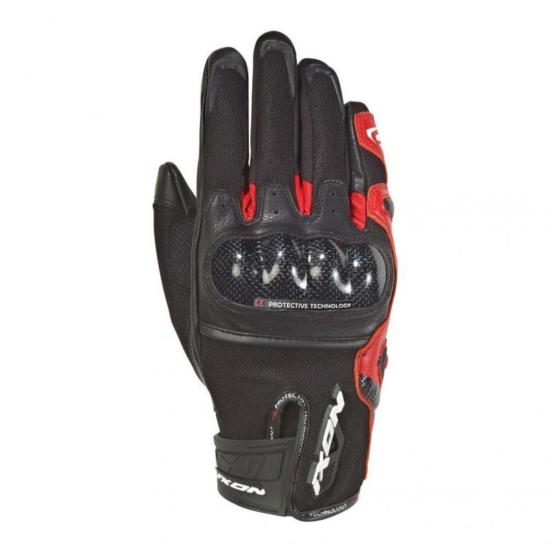 Gants été textile/cuir Ixon RS Rise Air noir/rouge