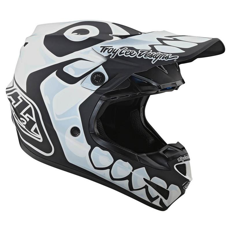 Casque cross Troy Lee Designs SE4 Polyacrylite Skully Mips blanc - 3