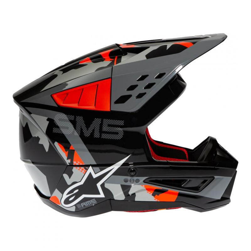 Casque cross Alpinestars S-M5 Rover anthracite/rouge fluo/gris camouflage brillant - 2