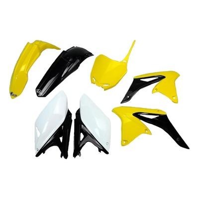 Kit plastique UFO Suzuki 250 RM-Z 2013 jaune/noir/blanc (couleur origine)