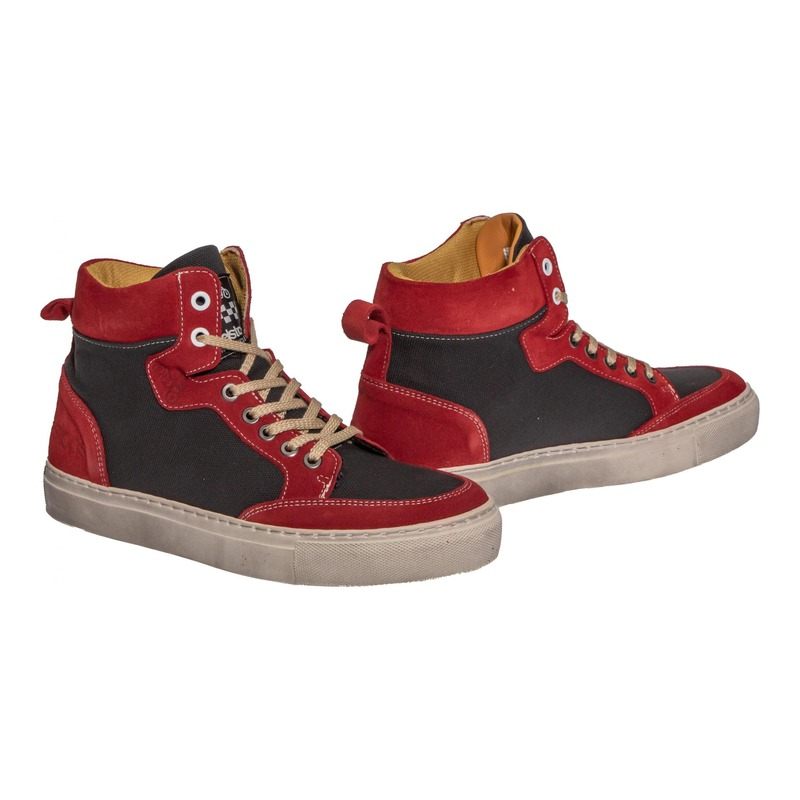 Baskets moto cuir/textile Helstons Kobe Armalith rouge/gris