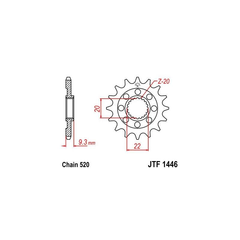 Pignon JT Sprockets Acier pas 520 13 dents - Pour Kawasaki KX 250 F 06-16 anti-boue