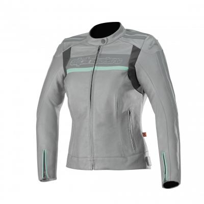 Blouson cuir femme Alpinestars Stella Dyno V2 gris/aqua