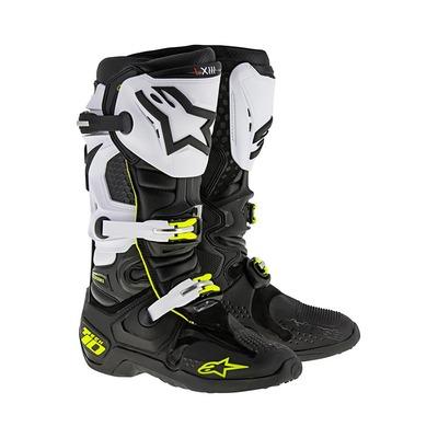 Bottes cross Alpinestars Tech 10 2021 noir/blanc/jaune fluo