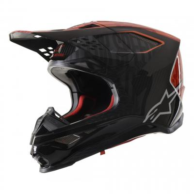 Casque cross Alpinestars Supertech S-M10 Alloy noir/orange fluo/rouge mat et brillant