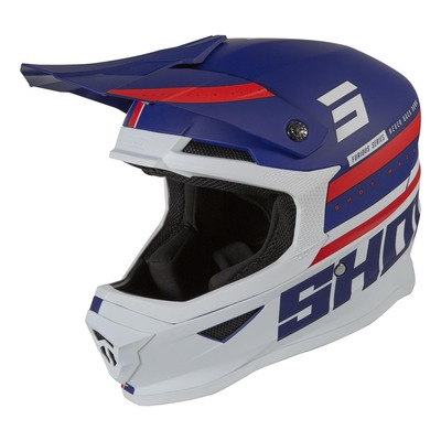 Casque cross Shot Furious Shining mat bleu/rouge