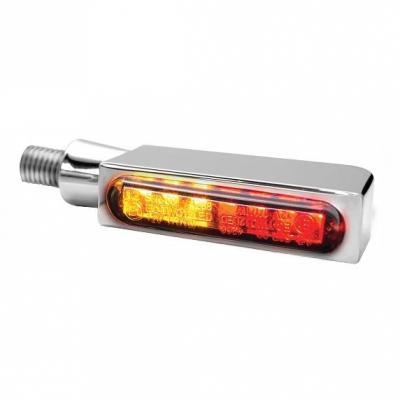 Clignotants LED Heinz Bikes Blokk-Line chromé avec feu arrière et feu stop intégrés