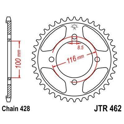 Couronne JT Sprockets Acier pas 428 50 dents - Pour Kawasaki KX 85 01-16