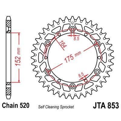 Couronne JT Sprockets Aluminium pas 520 49 dents - Pour Yamaha YZ 250 94-97
