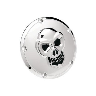 Derby cover Drag Specialties 3D skull Harley Davidson Big Twin 99-18 chrome