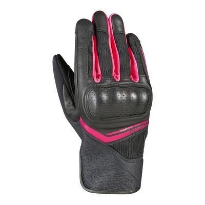 Gants cuir/textile femme Ixon RS Launch lady noir/fushia