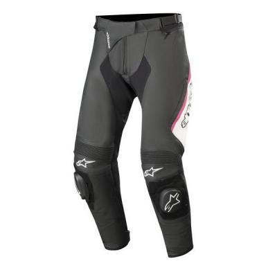 Pantalon cuir femme Alpinestars Stella Missile V2 noir/blanc/rose