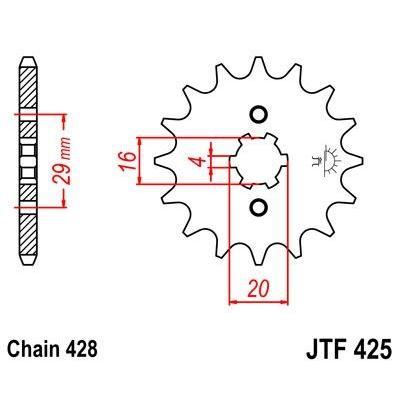 Pignon JT Sprockets Acier pas 428 16 dents - Pour Suzuki RG 125 92-96