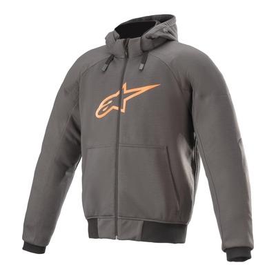 Sweat zippé moto Alpinestars Chrome Sport Tar gris/orange