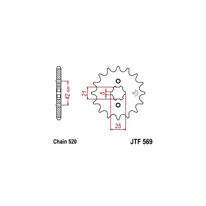 Pignon JT Sprockets Acier pas 520 15 dents - Pour Yamaha XT 250 80-90
