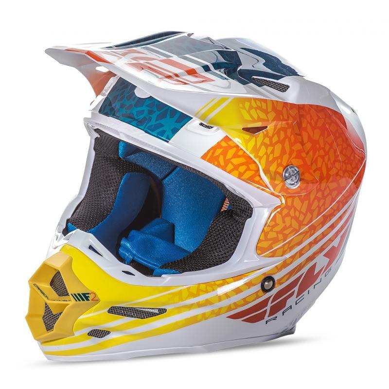 Casque cross Fly Racing F2 Carbon Animal orange/blanc/bleu