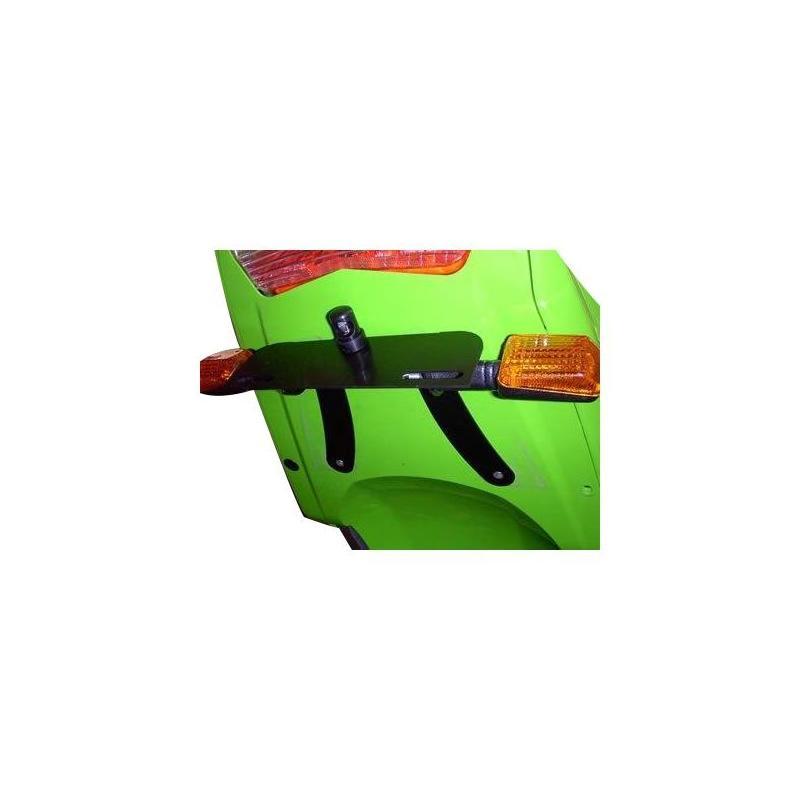 Support de plaque d'immatriculation R&G Racing noir Kawasaki ZX-6R 03-04